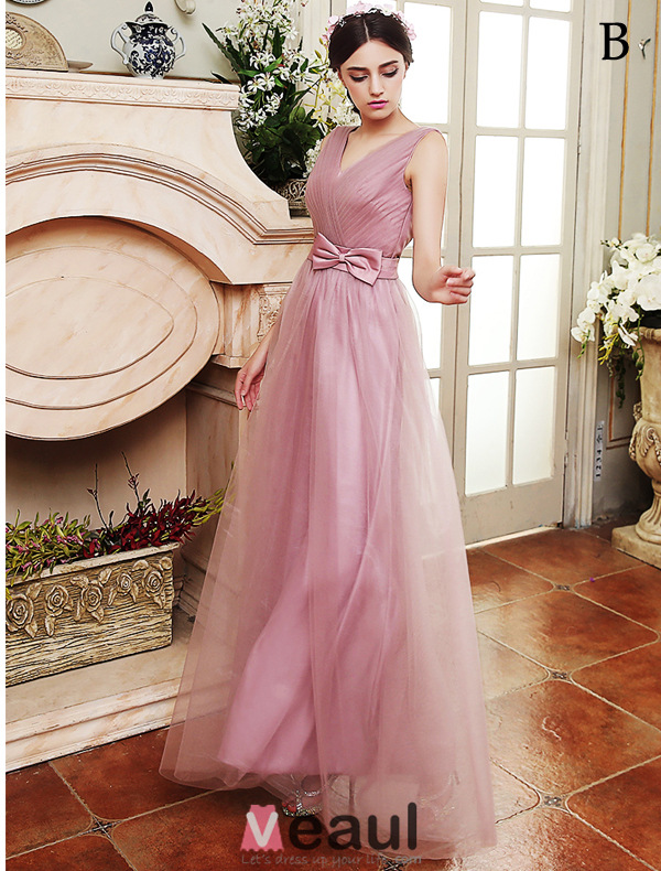 Bridesmaid Dresses 2016 Four Styles Lilac Tulle Long Wedding Party Dresses With Sash