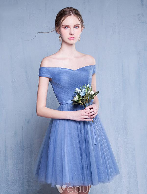 Bridesmaid Dresses 2016 Off The Shoulder Ruffle Blue Tulle Short Dress
