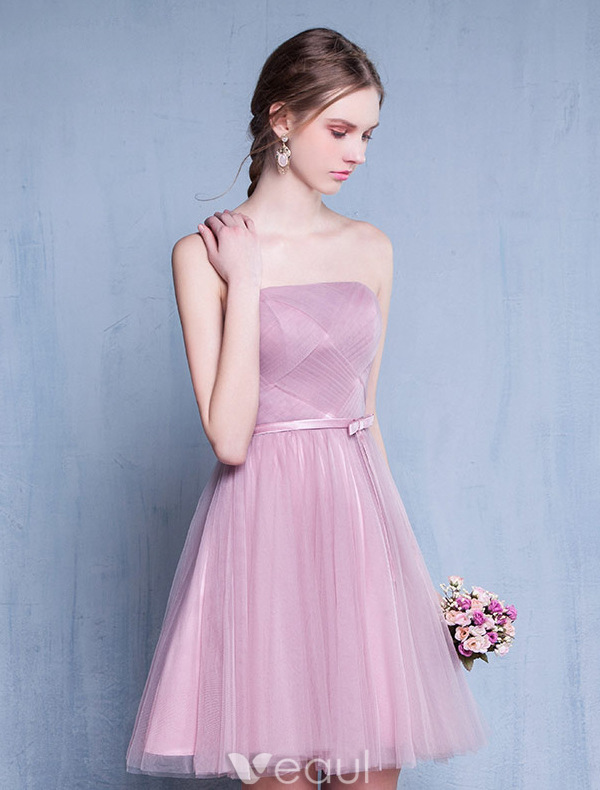 Pink Short Wedding Dresses : Bridesmaid dresses strapless ruffle pink tulle short dress