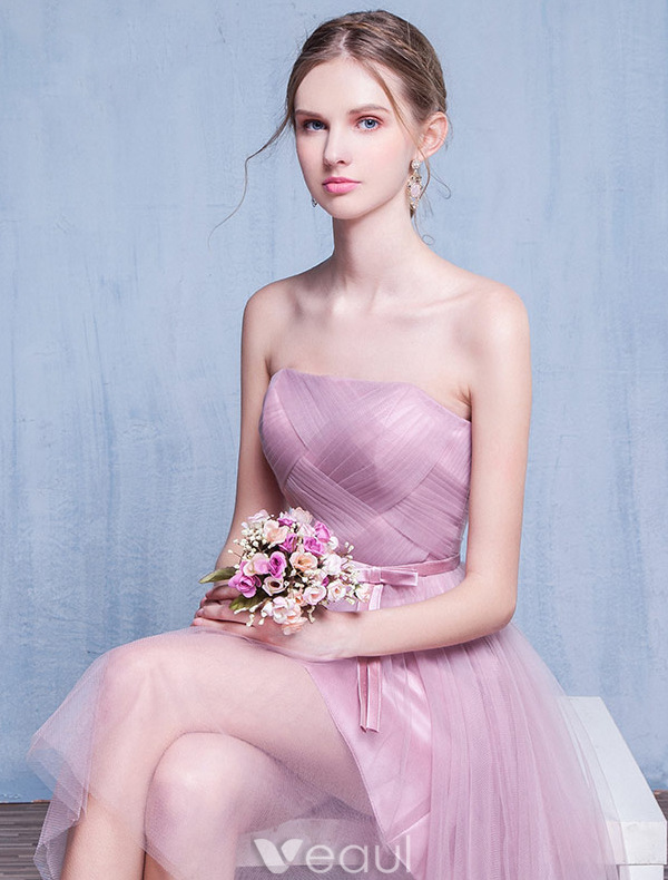 Bridesmaid Dresses 2016 Strapless Ruffle Pink Tulle Short Dress