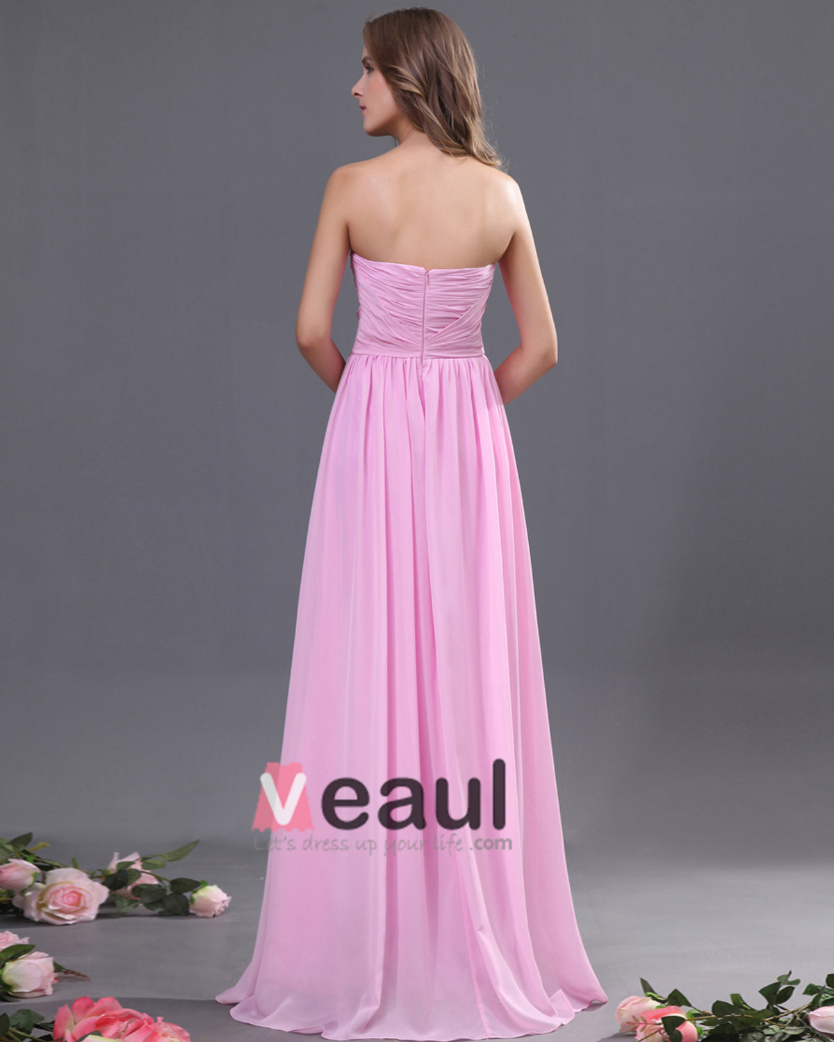 Chiffon Ruffle Floor Length Bridesmaid Dresses