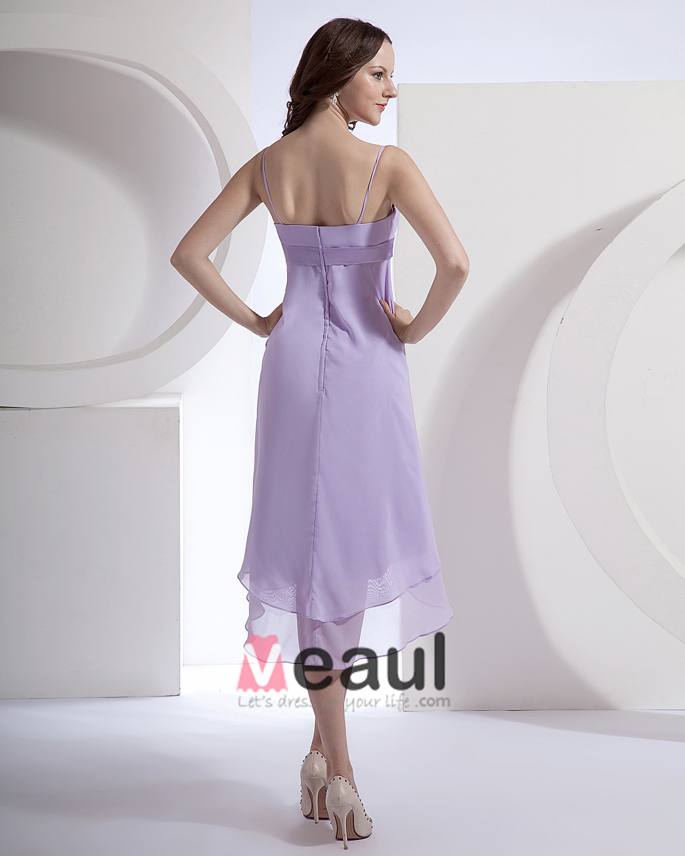 Chiffon Spaghetti Straps Tea Length Bridesmaid Dress Gown