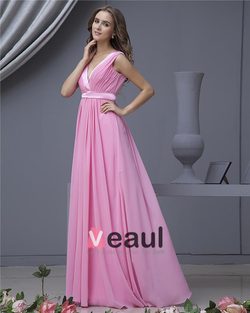 Chiffon V-Neck Floor Length Bridesmaid Dress Gown