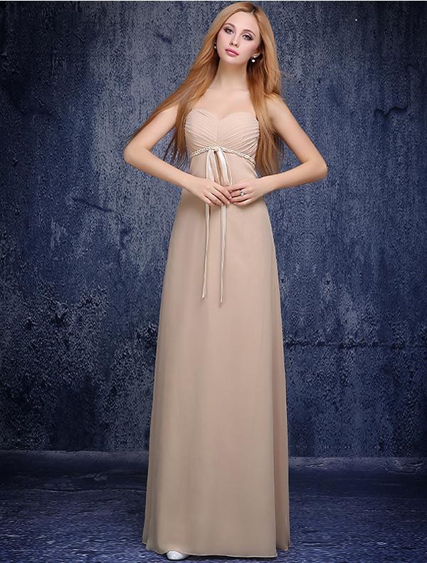 Cute Princess Empire Sweetheart Ruffle Knitting Sash Champagne Chiffon Bridesmaid Dress