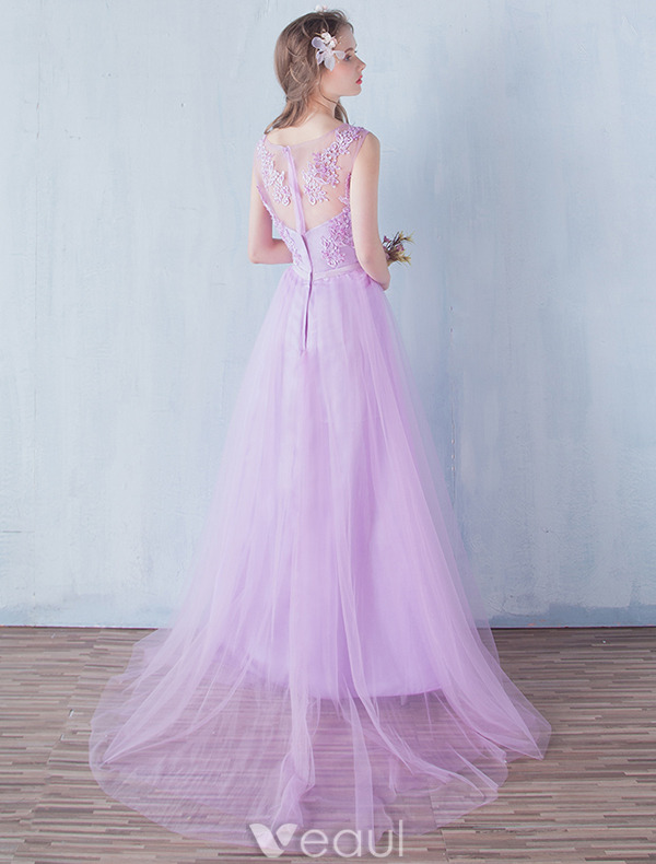 Elegant Bridesmaid Dresses 2016 A-line V-neck Applique Lace Lilac Tulle Floor Length Dress