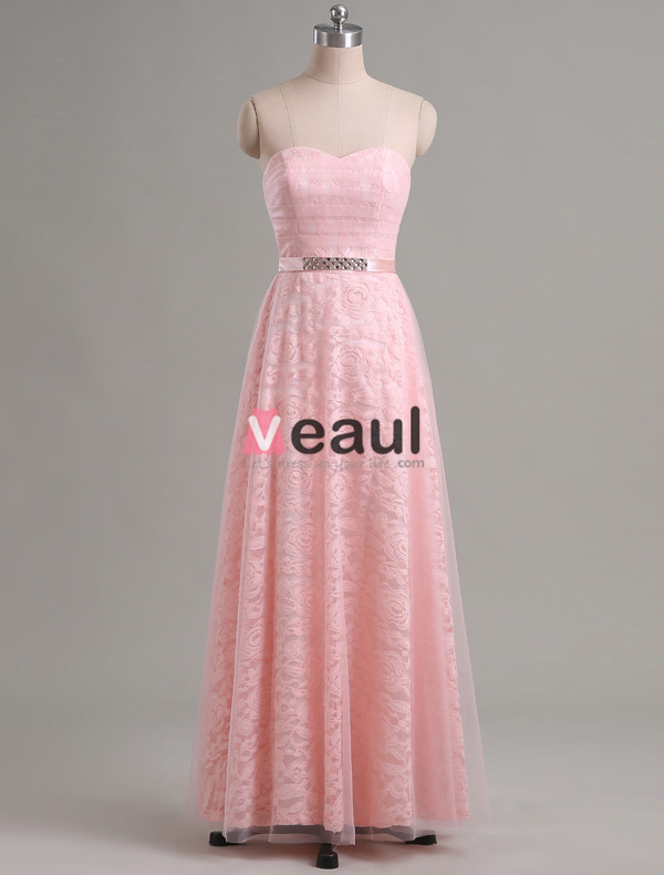 Elegant Lace Bridesmaid Dress With Rhinestone Sash 5 Colors Available