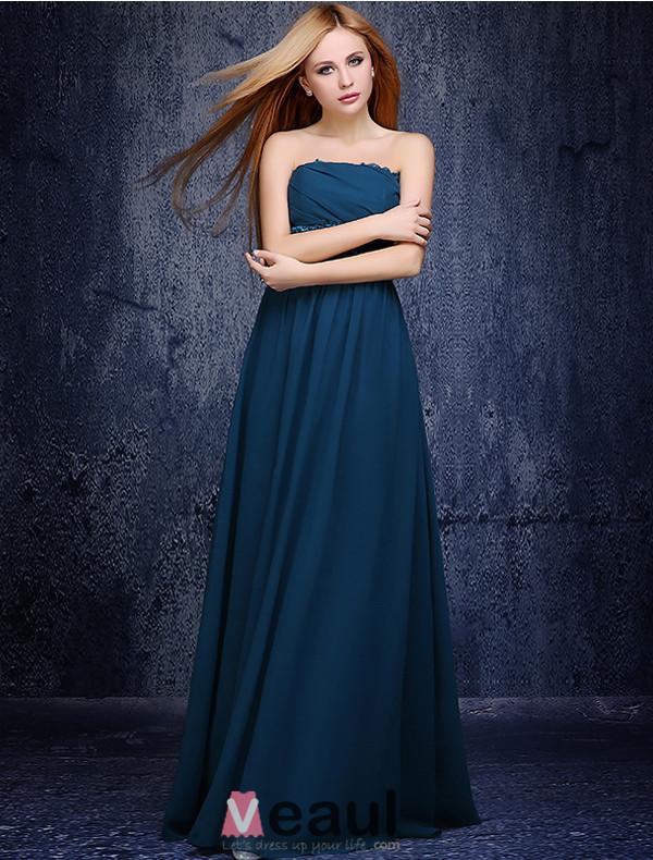 Exquisite Empire Lace Ruffle Sash Ink Blue Chiffon Bridesmaid Dresses 2015