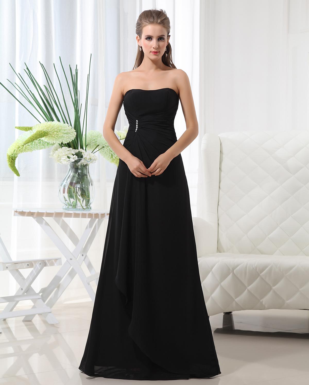 Fashion A line Strapless Chiffon Floor Length Bridesmaid Dress