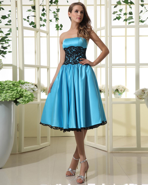 Lace Taffeta Ruffle Knee Length Bridesmaid Dresses