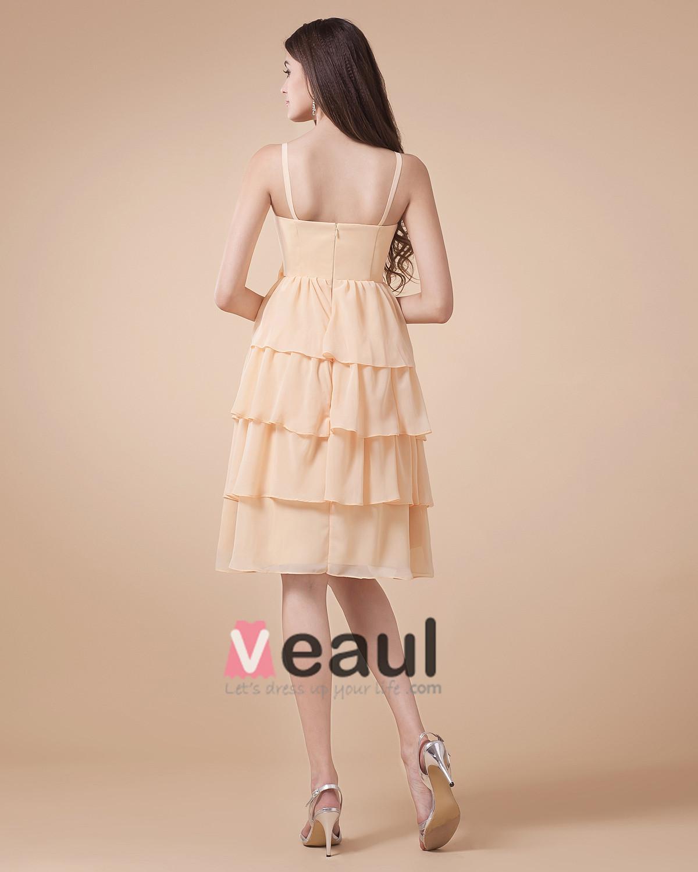 Lovely Spaghetti Straps Chiffon Knee Length Bridesmaid Dresses