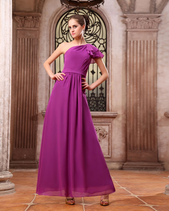 Dresses bridesmaid dresses modern chiffon one shoulder floor length