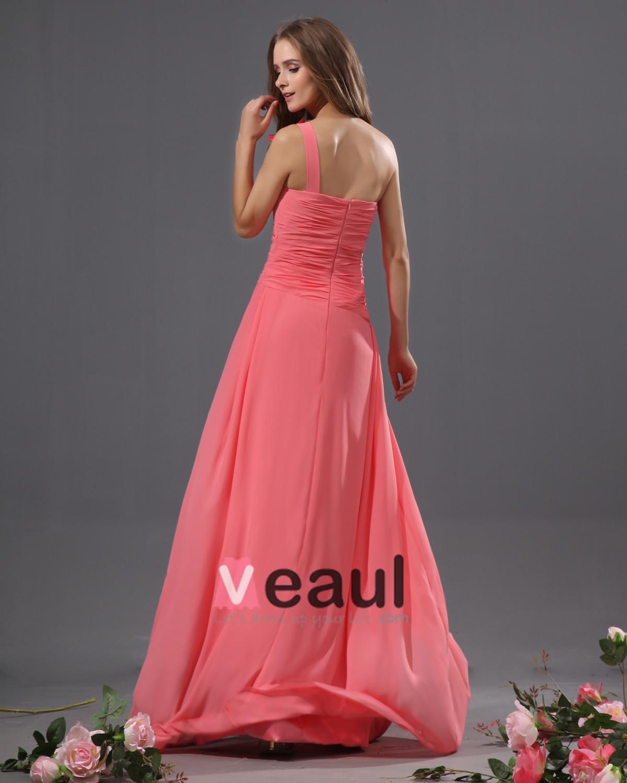 Red full length bridesmaid dresses