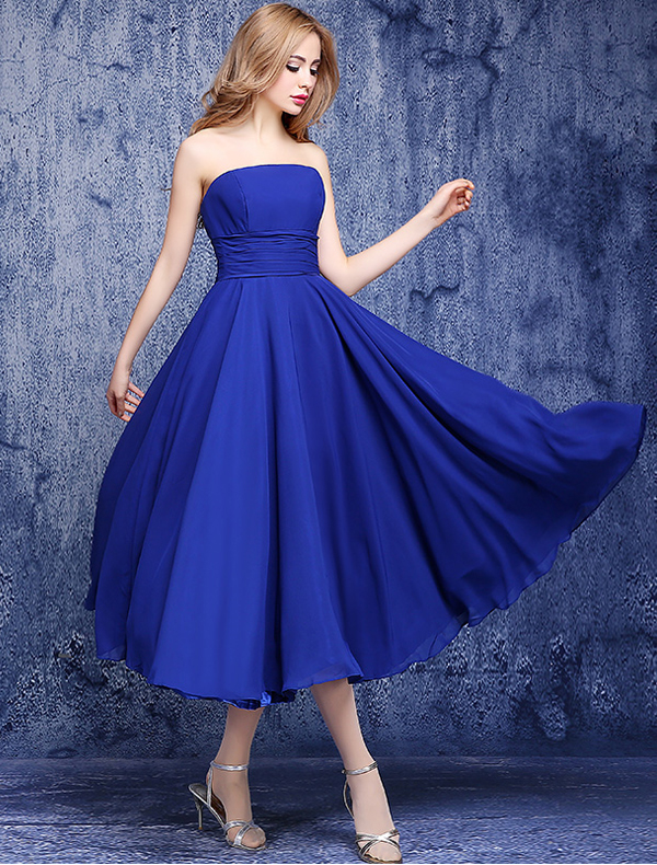 Simple Empire Strapless Backless Ruffle Chiffon Royal Blue ...