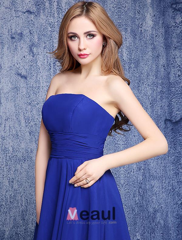 Simple Empire Strapless Backless Ruffle Chiffon Royal Blue Bridesmaid Dresses