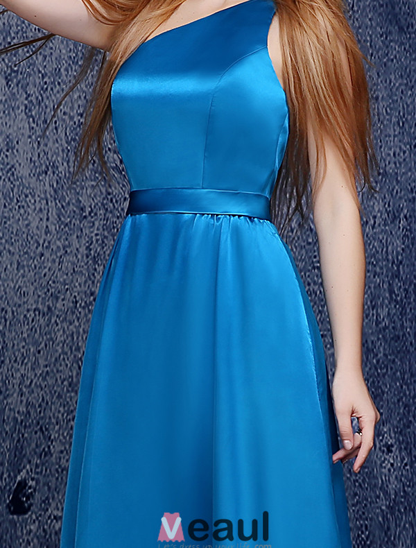 Simple one shoulder floor length ocean blue silk for Ocean blue wedding dress