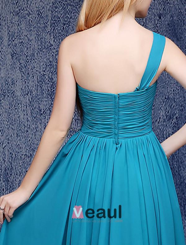 Simple One-shoulder Ruffle Knee Length Jade Chiffon Bridesmaid Dress