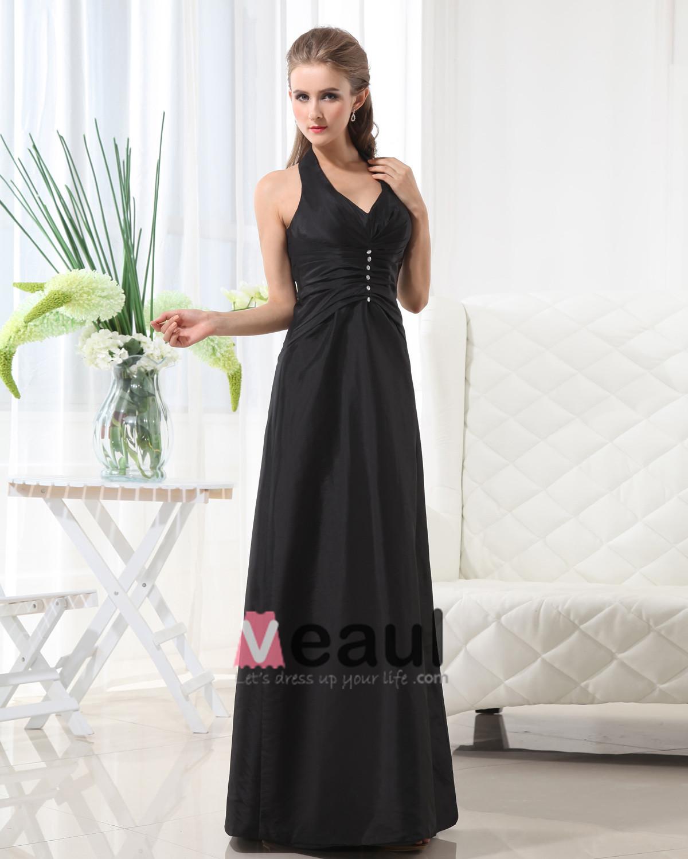 Taffeta Floor Length Halter Pleated Solid Bridesmaid Dress