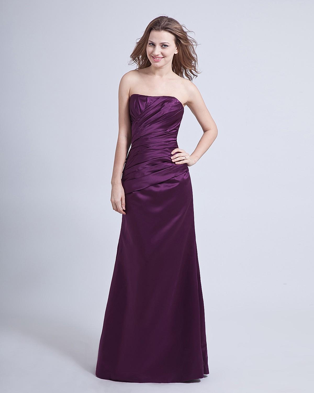 Taffeta Ruffle Strapless Floor Length Bridesmaid Dresses
