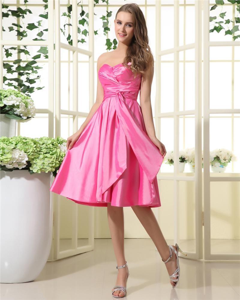 -Bridesmaid-Dresses-Taffeta-Ruffle-Sweetheart-Tea-Length-Bridesmaid ...