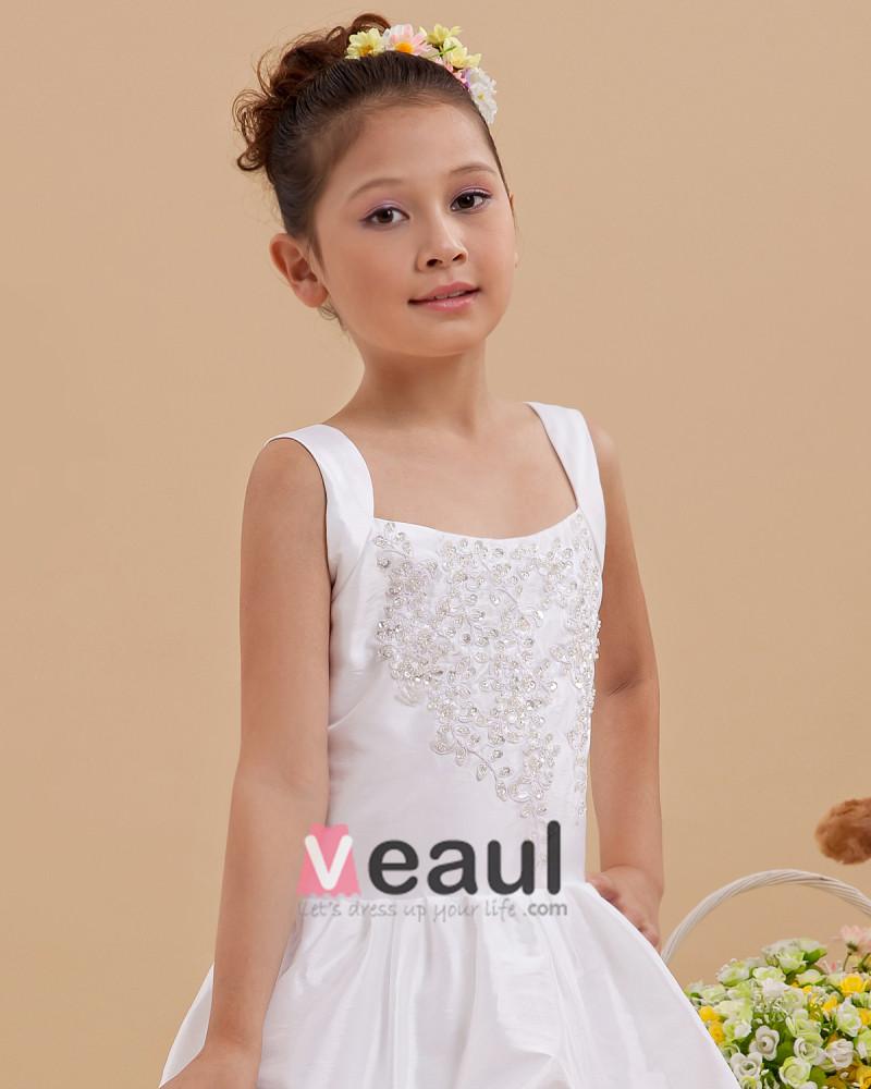 Ruffle beading square neck floor length taffeta flower girl dresses