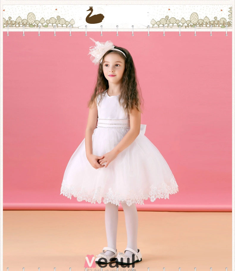 Flash Diamond White Flower Girl Dress Skirt Princess Dress ...