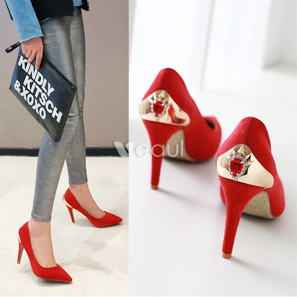 Beautiful Red Pumps Suede Stilettos High Heel With Crystal