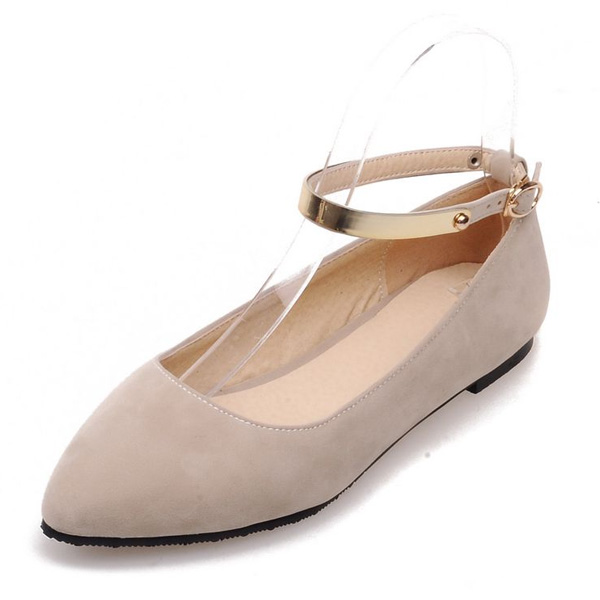 Chic Flat Pumps With Ankle Strap Suede Beige Womens Shoes