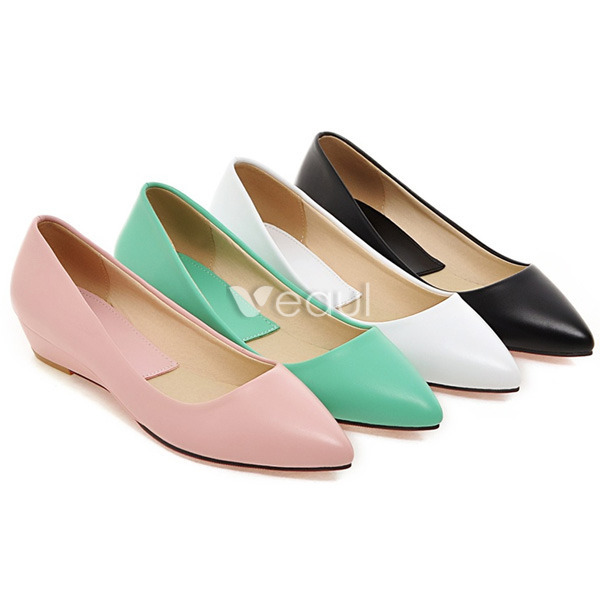 Chic Patent Leather Pink Pumps 3 cm Kitten Heels Wedges Shoes ...
