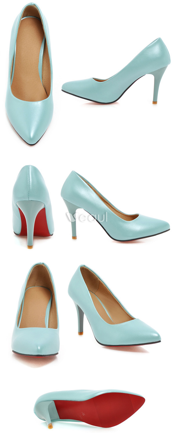 Classic Patent Leather Blue Pumps 3 Inch Stiletto Heel Womens Shoes High Heels
