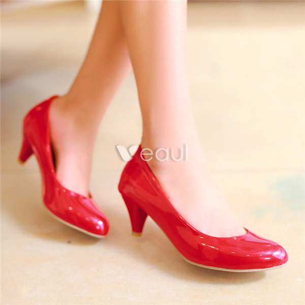 Classic Patent Leather Red Pumps 2 Inch Kitten Heels Stiletto Heel ...