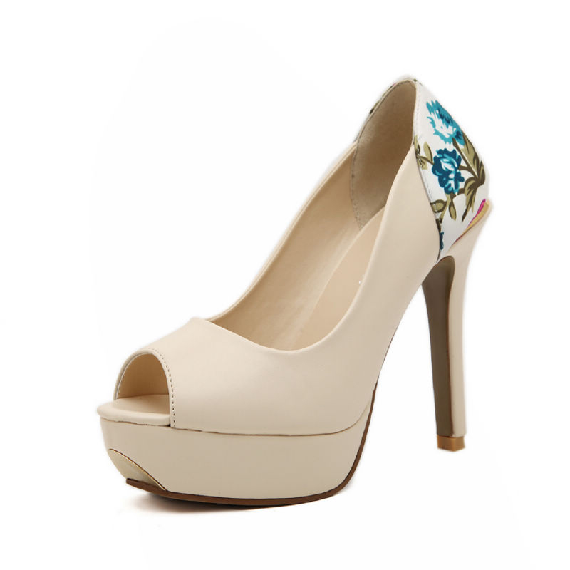 Elegant Flowers Peep Toe Faux Leather Stiletto Pumps / Heels