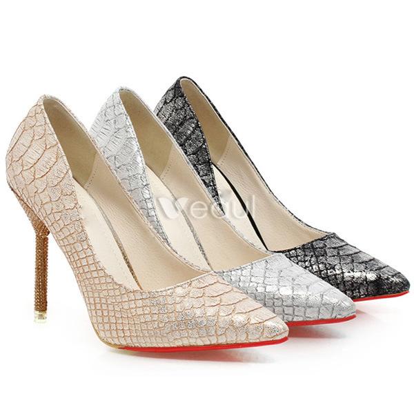 Fashion Black Pumps With 4 Inch Stiletto Heel 2016 Snakeskin Print High Heel