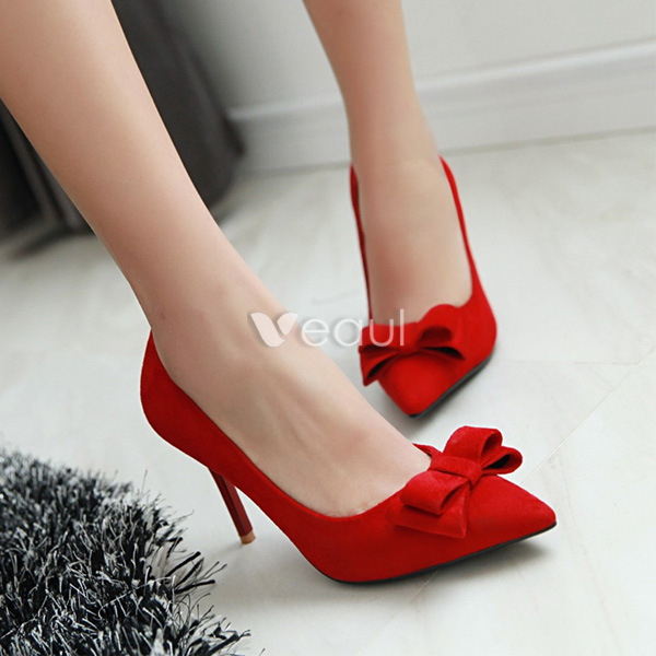 Fashion Black Suede Pumps With Bow Stilettos High Heels Womens Shoes