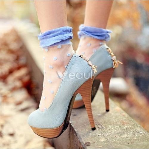 Fashion Denim Blue Pumps 5 Inch High Heel Womens Shoes Stiletto Heels With Platform