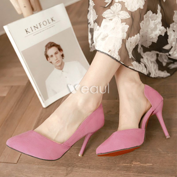 Fashion Suede Pumps 4 Inch Stiletto Heels Womens Shoes D'orsay High Heels