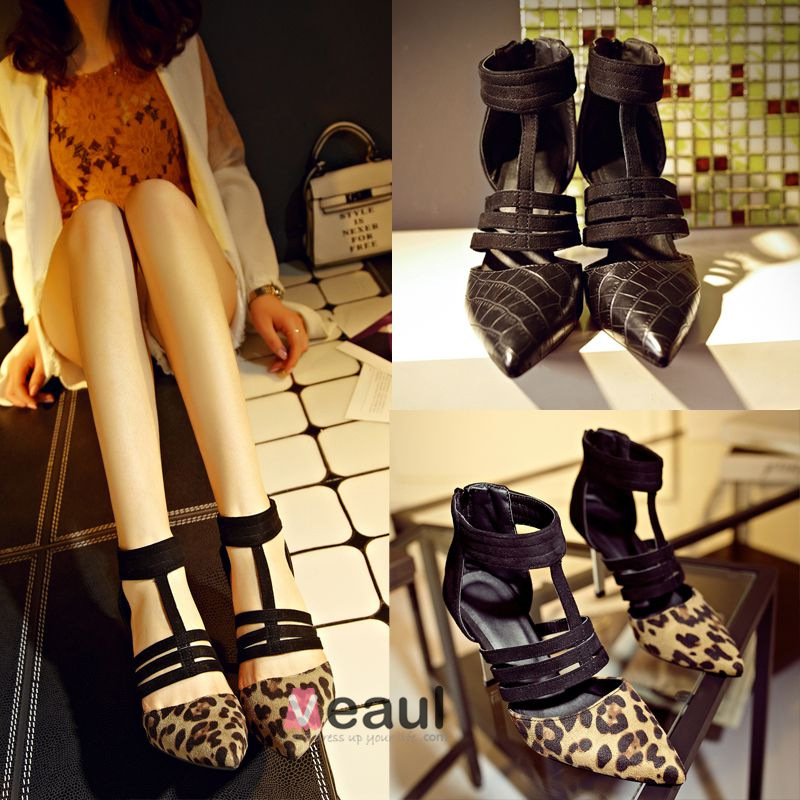 Sexy Leopard Print Pointed Toe Stiletto Heels Pumps Shoes