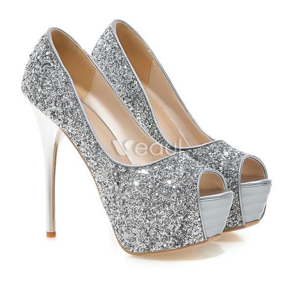 Sparkly Black Pumps  Peep Toe Stilettos Glitter High Heels