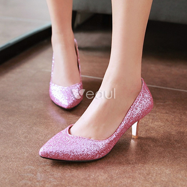 Sparkly Glitter Pumps Pointed Toe Red Stiletto Heels Ladies Shoes