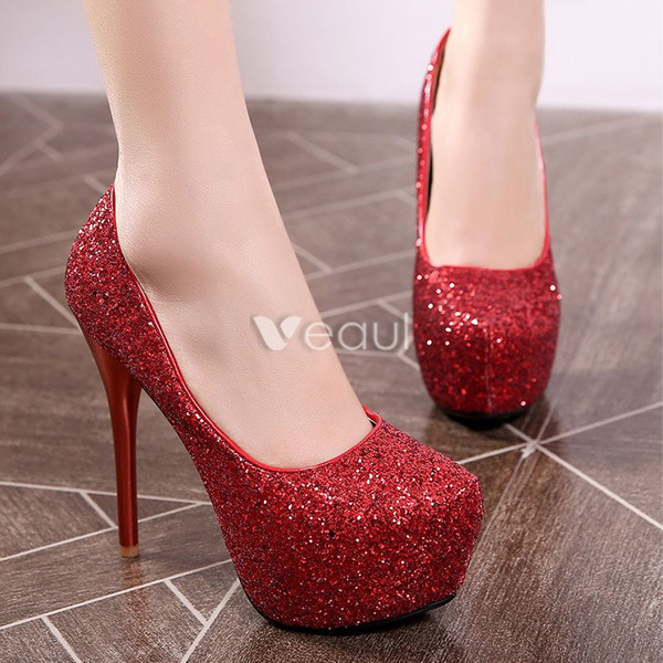 Sparkly Red Pumps With 5 Inch Stiletto Heels Glitter High Heels