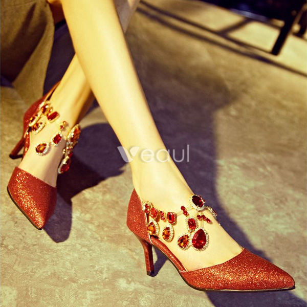 Sparkly Red Pumps With Crystal Ankle Strap Stilettos Glitter High Heel Womens Shoes