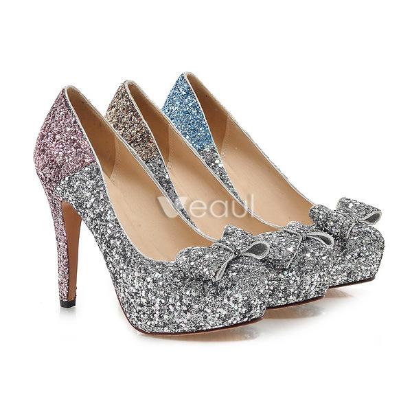 Sparkly Silver & Blue Pumps Glitter High Heels Womens Stiletto ...