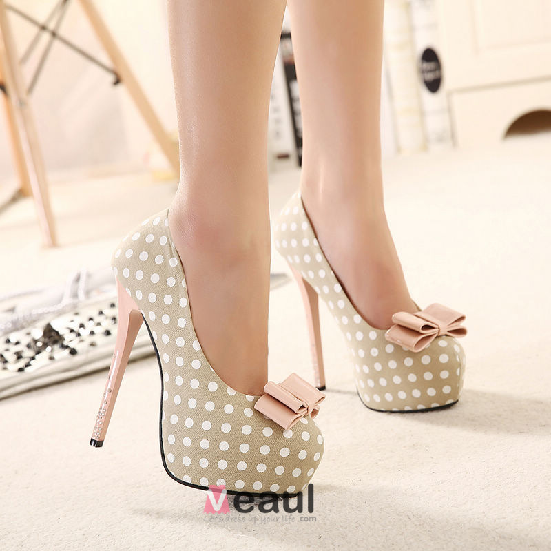 Sweet Bow Round Toe Platform Stiletto Heels / Pumps Shoes
