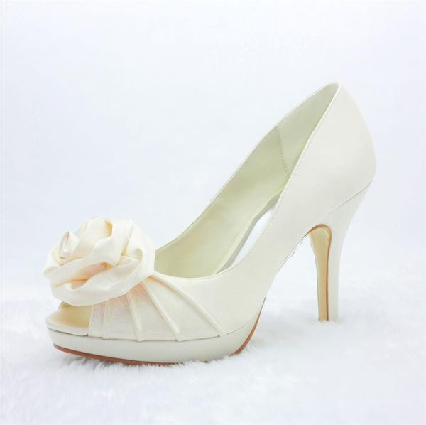 Beautiful Beige Bridal Shoes Ruffle Satin Stilettos With Rose Flower