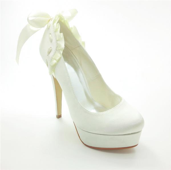 Beautiful Bridal Shoes Satin Stilettos Pumps With Ribbon Tie