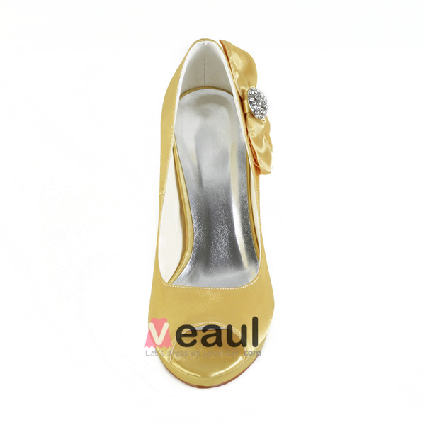Beautiful Gold Party Shoes Satin Peep Toe Prom Shoes With Bow