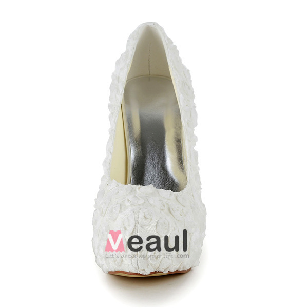 Beautiful Ivory Bridal Shoes Lace Flower Stilettos Platform Pumps