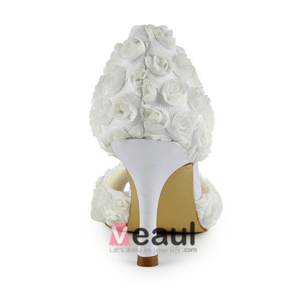 Beautiful Ivory Bridal Shoes Stiletto Heel Pumps White Flowers