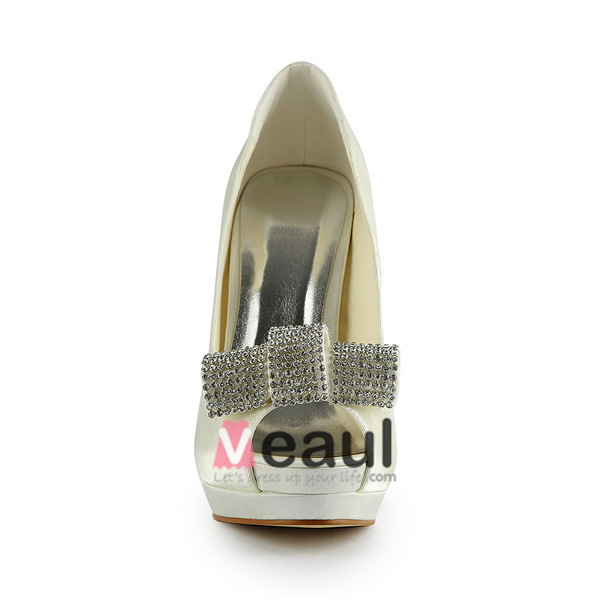 Beautiful Ivory Bridal Shoes Stiletto High Heel Peep Toe Platform Pumps