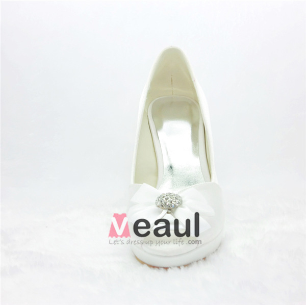 Beautiful Ivory Wedding Shoes Satin Peep Toe Stilettos Pumps With Bow Jewelry