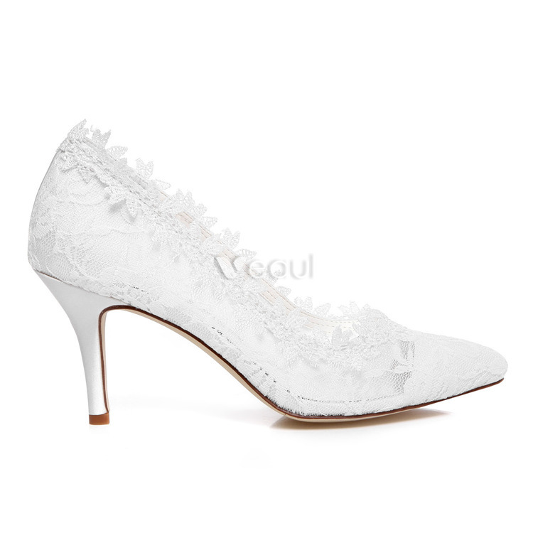 Beautiful Lace Bridal Shoes 3 Inch Stiletto Heels White Wedding